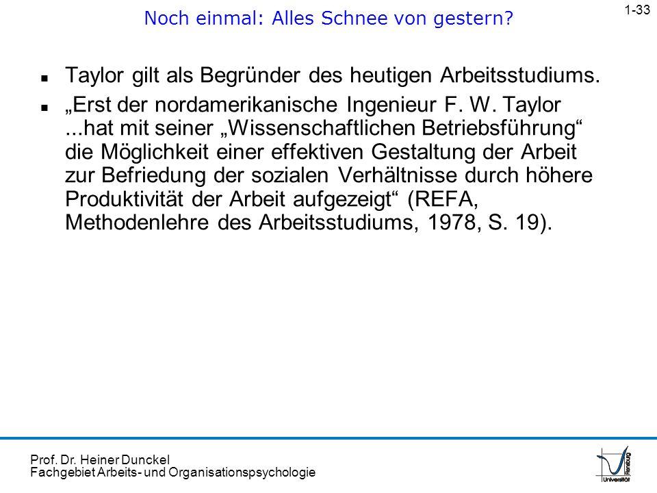 Prof. Dr. Heiner Dunckel Fachgebiet Arbeits- und Organisationspsychologie n Taylor gilt als Begründer des heutigen Arbeitsstudiums. n Erst der nordame