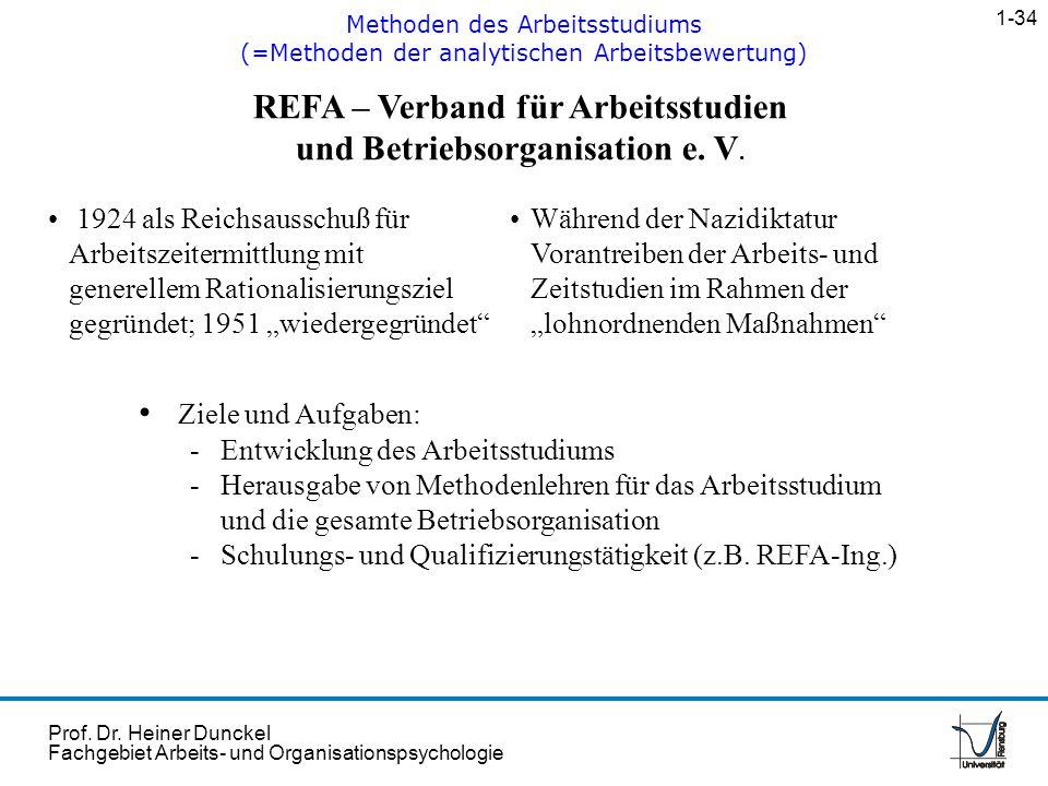 Prof. Dr. Heiner Dunckel Fachgebiet Arbeits- und Organisationspsychologie REFA – Verband für Arbeitsstudien und Betriebsorganisation e. V. 1924 als Re