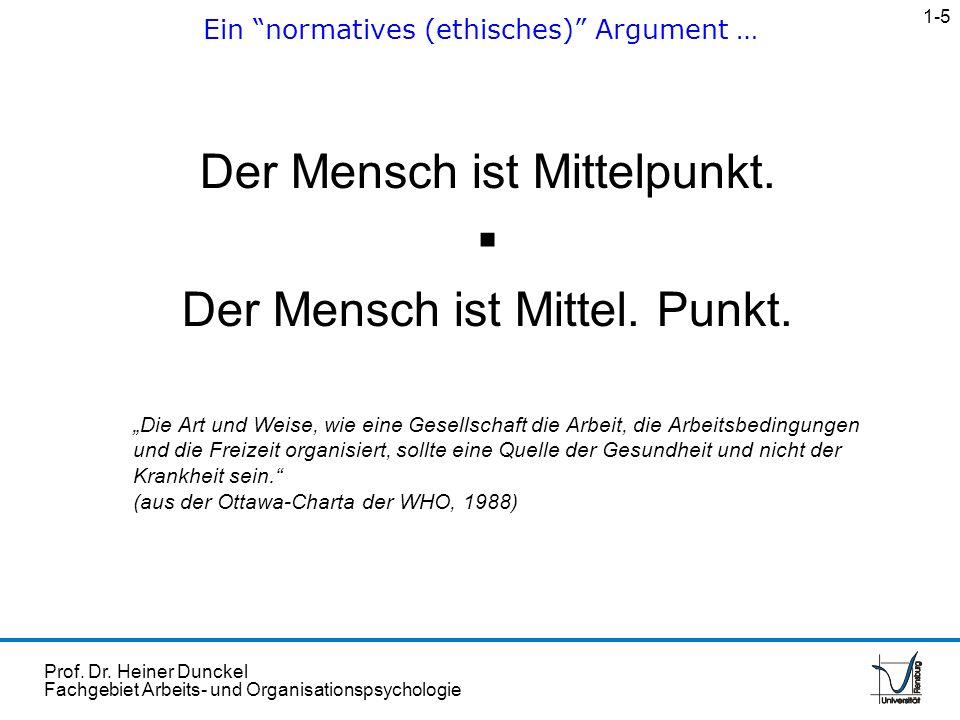 Prof. Dr. Heiner Dunckel Fachgebiet Arbeits- und Organisationspsychologie Der Mensch ist Mittelpunkt. Der Mensch ist Mittel. Punkt. Die Art und Weise,