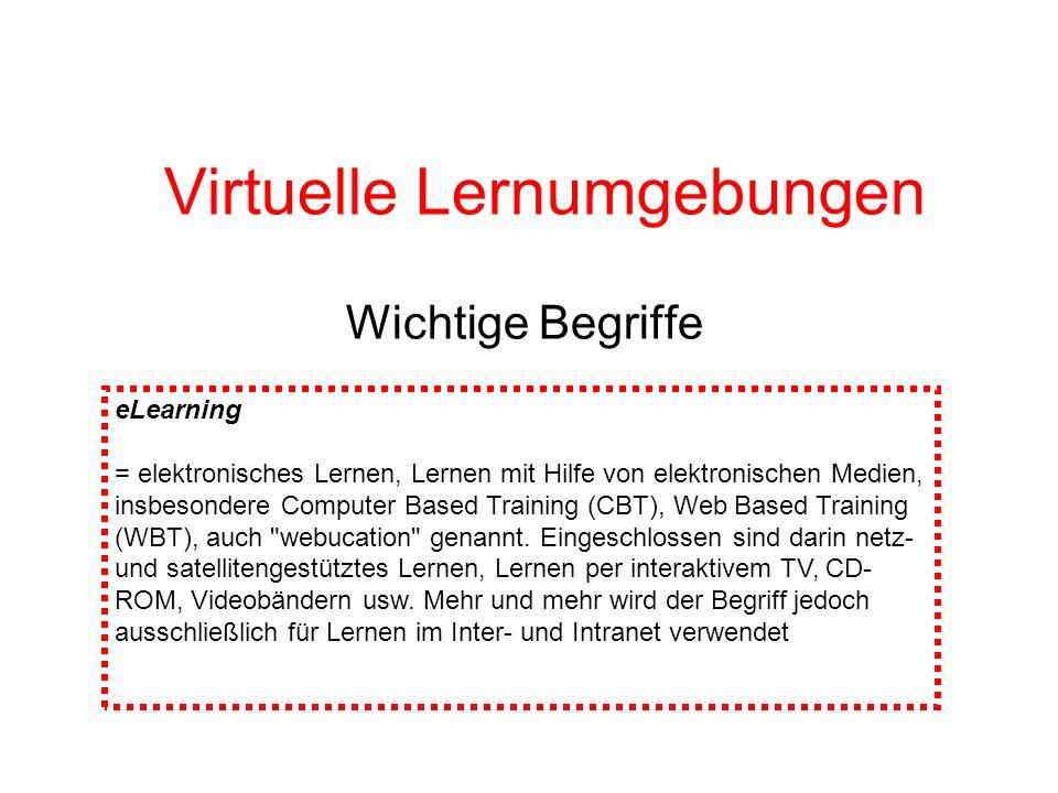 Virtuelle Lernumgebungen Wichtige Begriffe eLearning = elektronisches Lernen, Lernen mit Hilfe von elektronischen Medien, insbesondere Computer Based
