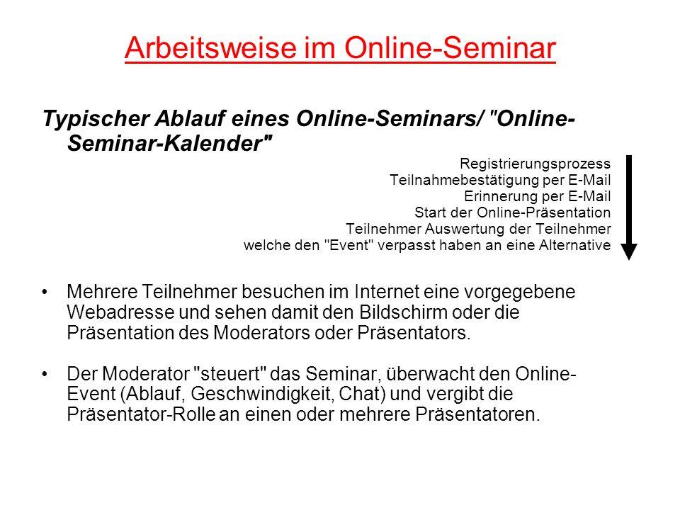 Arbeitsweise im Online-Seminar Typischer Ablauf eines Online-Seminars/