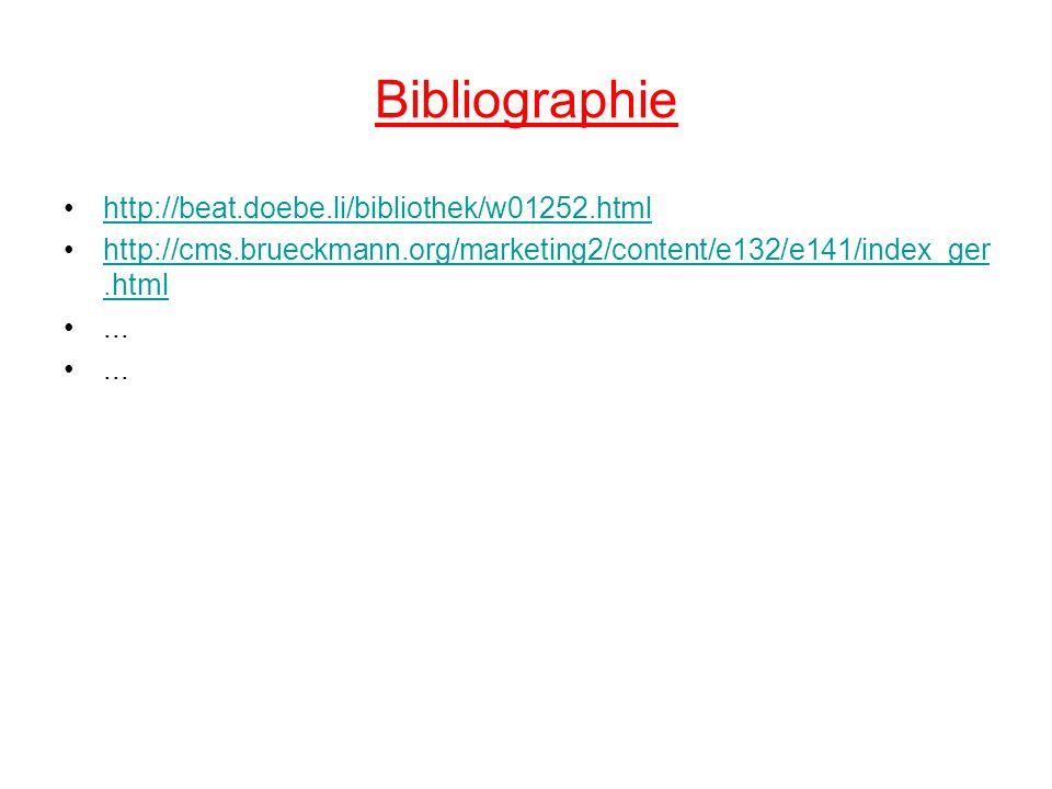 Bibliographie http://beat.doebe.li/bibliothek/w01252.html http://cms.brueckmann.org/marketing2/content/e132/e141/index_ger.htmlhttp://cms.brueckmann.o