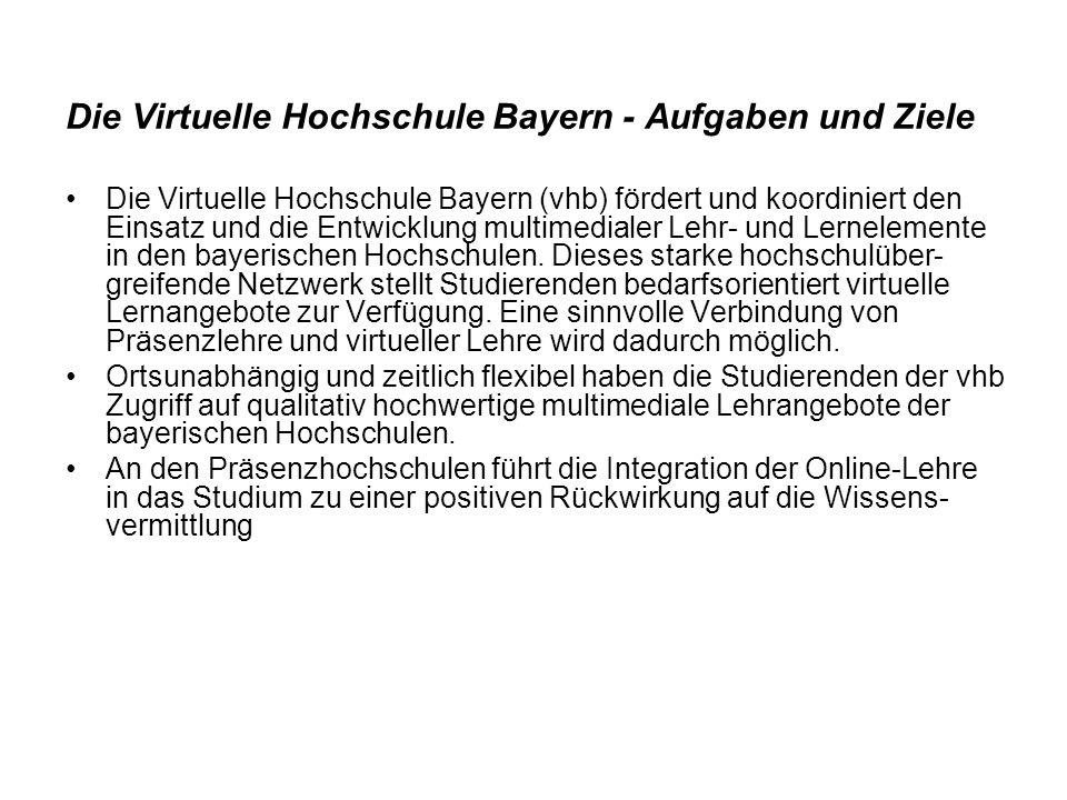 Die Virtuelle Hochschule Bayern - Aufgaben und Ziele Die Virtuelle Hochschule Bayern (vhb) fördert und koordiniert den Einsatz und die Entwicklung mul