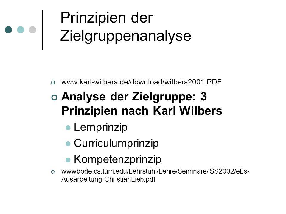 Prinzipien der Zielgruppenanalyse www.karl-wilbers.de/download/wilbers2001.PDF Analyse der Zielgruppe: 3 Prinzipien nach Karl Wilbers Lernprinzip Curriculumprinzip Kompetenzprinzip wwwbode.cs.tum.edu/Lehrstuhl/Lehre/Seminare/ SS2002/eLs- Ausarbeitung-ChristianLieb.pdf