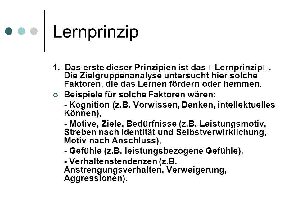 Lernprinzip 1.Das erste dieser Prinzipien ist das Lernprinzip.