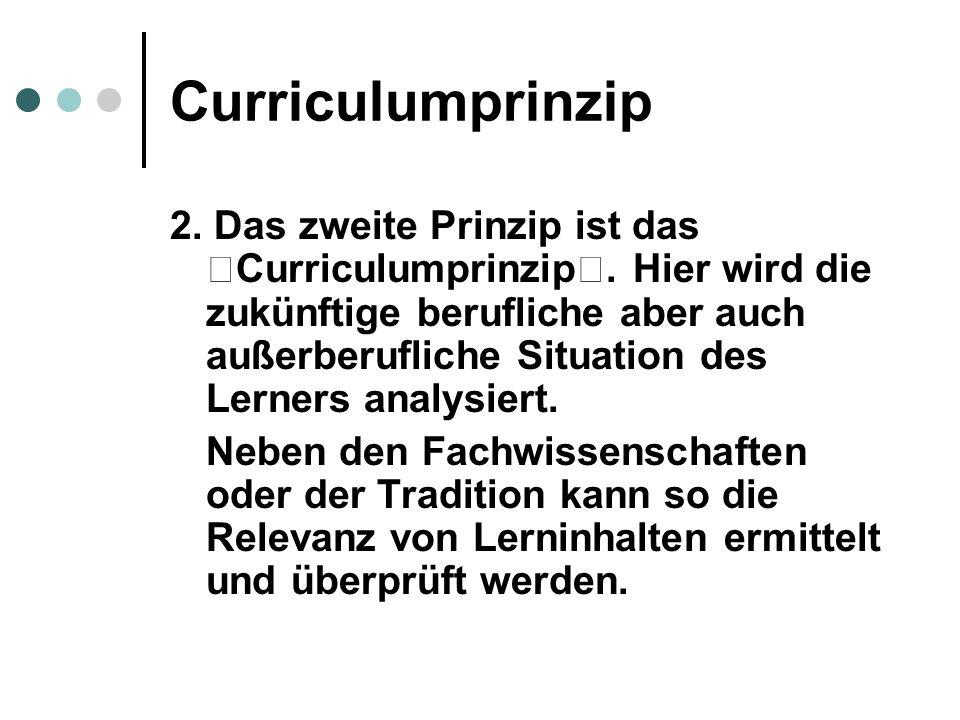 Curriculumprinzip 2.Das zweite Prinzip ist das Curriculumprinzip.
