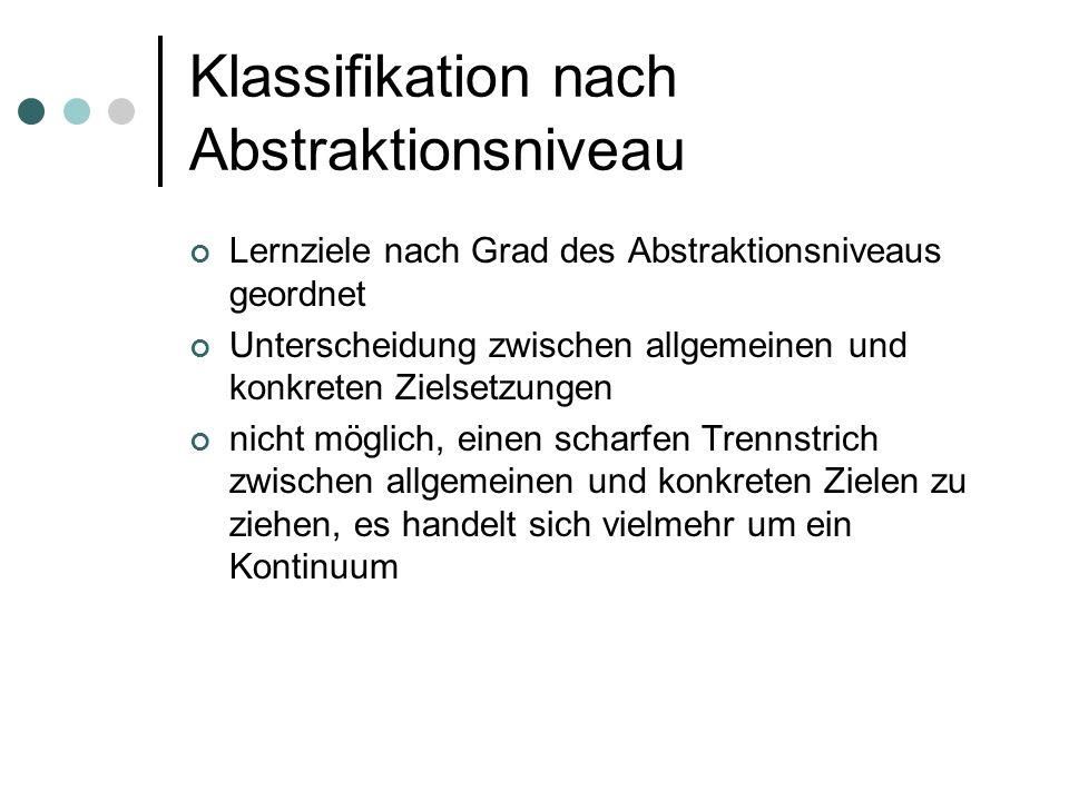 Klassifikation nach Abstraktionsniveau Lernziele nach Grad des Abstraktionsniveaus geordnet Unterscheidung zwischen allgemeinen und konkreten Zielsetz
