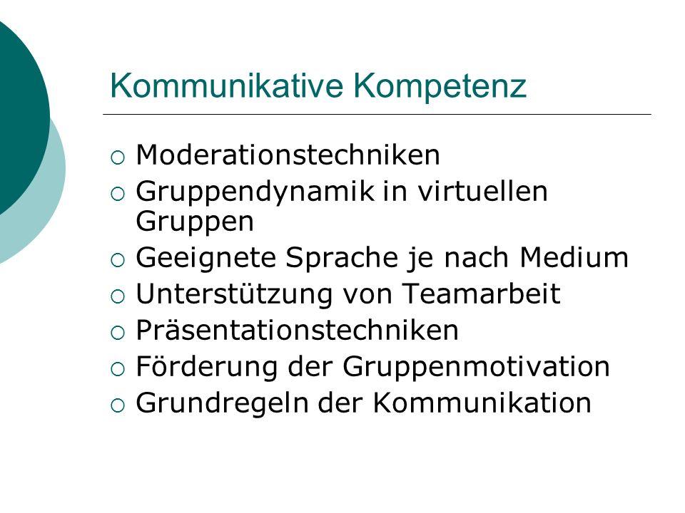 Kommunikative Kompetenz Moderationstechniken Gruppendynamik in virtuellen Gruppen Geeignete Sprache je nach Medium Unterstützung von Teamarbeit Präsen