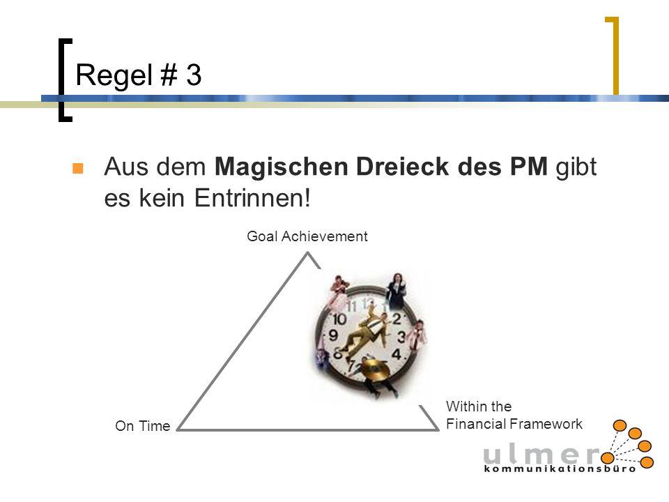 Regel # 3 Aus dem Magischen Dreieck des PM gibt es kein Entrinnen! Goal Achievement Within the Financial Framework On Time
