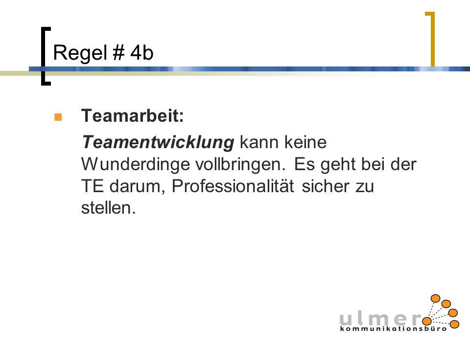 Regel # 4b Teamarbeit: Teamentwicklung kann keine Wunderdinge vollbringen. Es geht bei der TE darum, Professionalität sicher zu stellen.