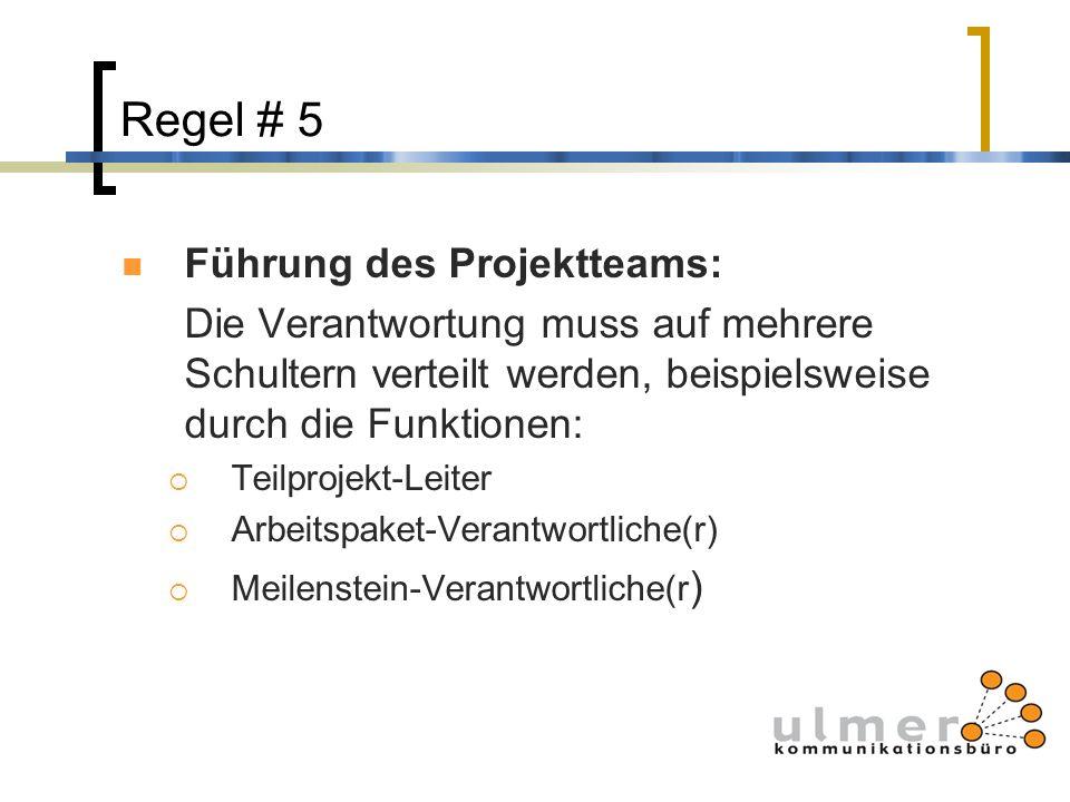 Regel # 5 Führung des Projektteams: Die Verantwortung muss auf mehrere Schultern verteilt werden, beispielsweise durch die Funktionen: Teilprojekt-Lei