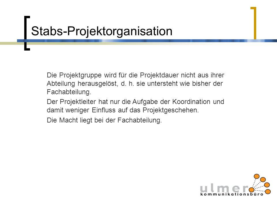 Stabs-Projektorganisation Die Projektgruppe wird für die Projektdauer nicht aus ihrer Abteilung herausgelöst, d. h. sie untersteht wie bisher der Fach