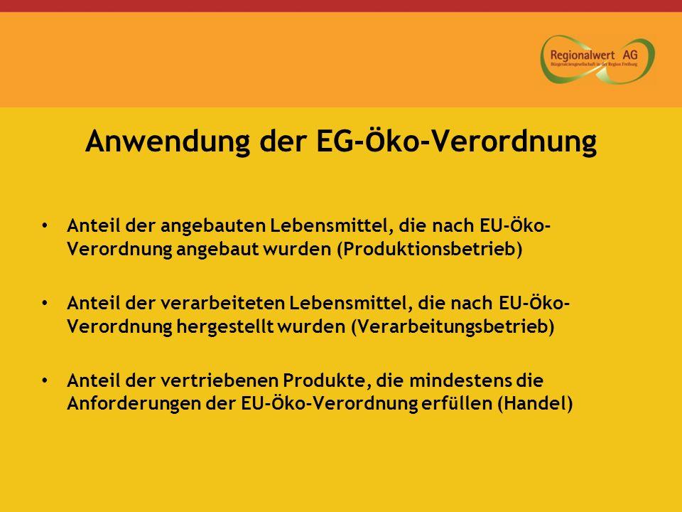 Anwendung der EG- Ö ko-Verordnung Anteil der angebauten Lebensmittel, die nach EU- Ö ko- Verordnung angebaut wurden (Produktionsbetrieb) Anteil der verarbeiteten Lebensmittel, die nach EU- Ö ko- Verordnung hergestellt wurden (Verarbeitungsbetrieb) Anteil der vertriebenen Produkte, die mindestens die Anforderungen der EU- Ö ko-Verordnung erf ü llen (Handel)