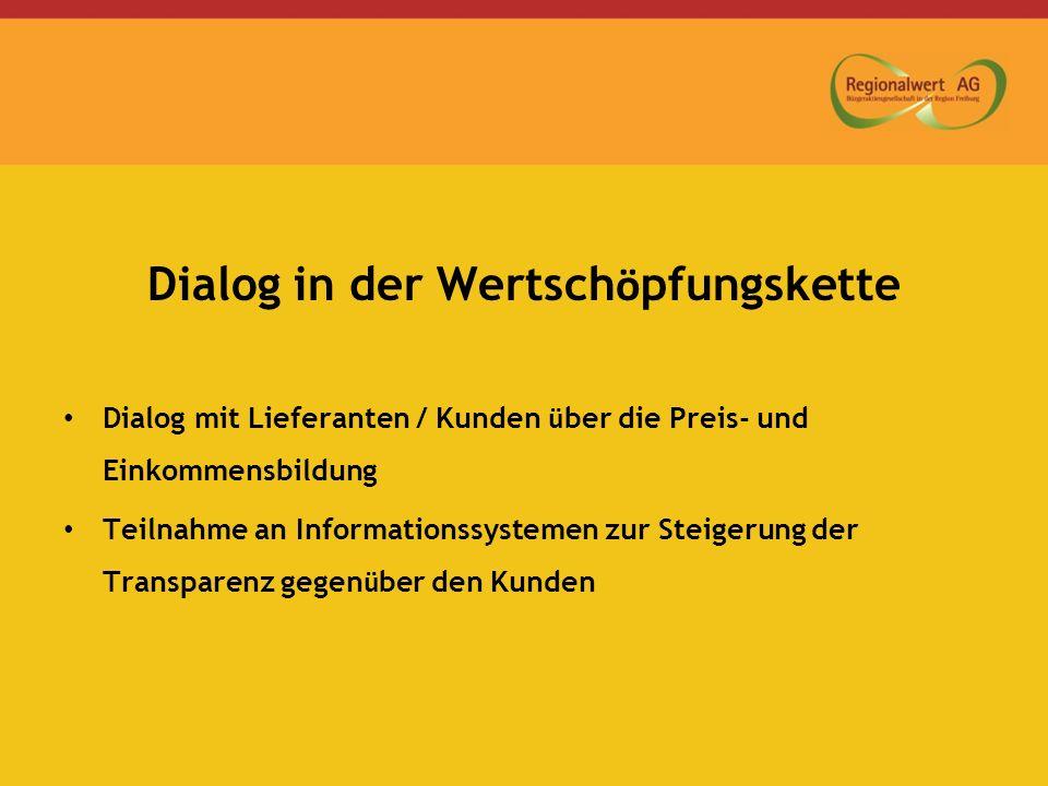 Dialog in der Wertsch ö pfungskette Dialog mit Lieferanten / Kunden ü ber die Preis- und Einkommensbildung Teilnahme an Informationssystemen zur Steig