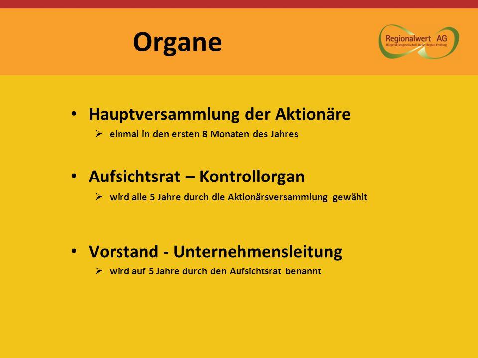 Organe Hauptversammlung der Aktionäre einmal in den ersten 8 Monaten des Jahres Aufsichtsrat – Kontrollorgan wird alle 5 Jahre durch die Aktionärsvers