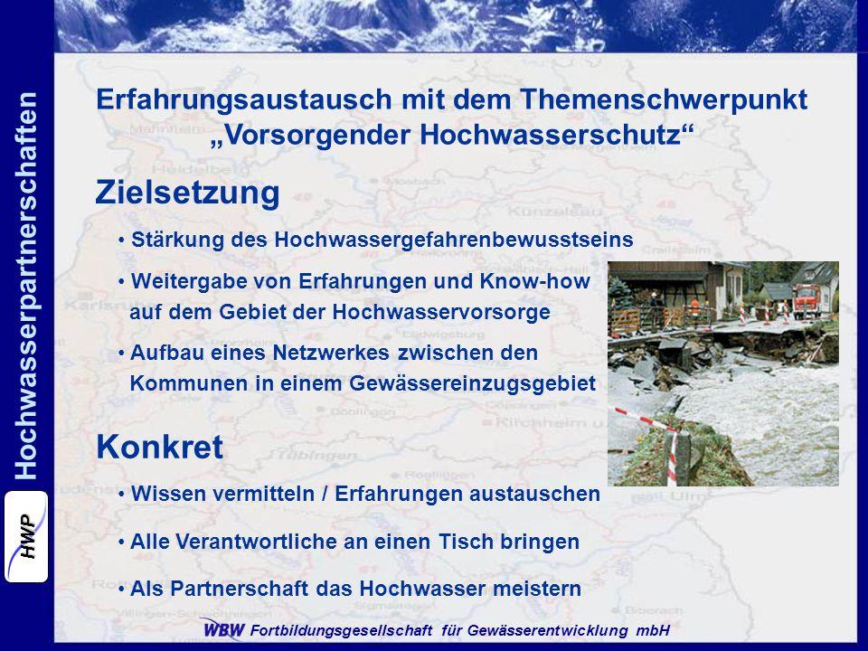 Fortbildungsgesellschaft für Gewässerentwicklung mbH Hochwasserpartnerschaften HWP Erfahrungsaustausch mit dem Themenschwerpunkt Vorsorgender Hochwass