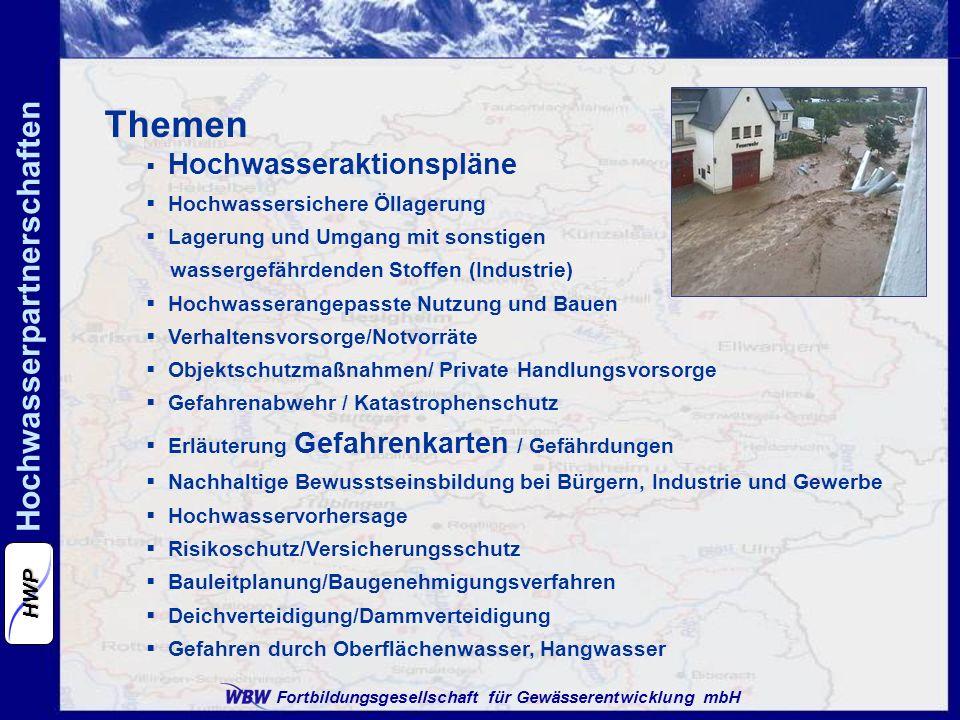 Fortbildungsgesellschaft für Gewässerentwicklung mbH Hochwasserpartnerschaften HWP Themen Hochwasseraktionspläne Hochwassersichere Öllagerung Lagerung