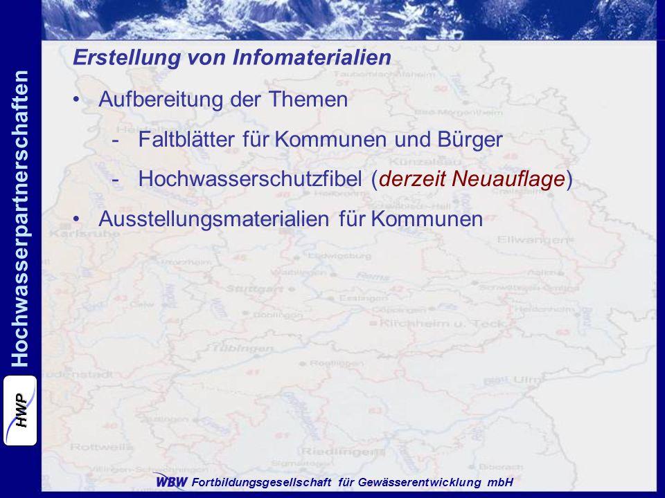 Fortbildungsgesellschaft für Gewässerentwicklung mbH Hochwasserpartnerschaften HWP Erstellung von Infomaterialien Aufbereitung der Themen -Faltblätter