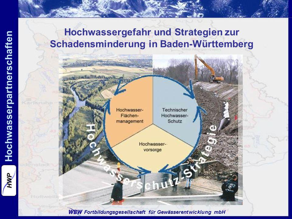 Fortbildungsgesellschaft für Gewässerentwicklung mbH Hochwasserpartnerschaften HWP Problemstellungen in den Hochwasserpartnerschaften: Abgrenzung der Partnerschaften über Landkreisgrenzen hinaus teils schwierig zu organisieren Kommunen in der Fläche (abseits der Gewässer) sind schwerer zu mobilisieren (außer nach Starkregenereignissen) Hochwasserschutz wird in den Kommunen meist mit rein technischen Maßnahmen assoziiert Bisherige Erkenntnisse aus den Hochwasserpartnerschaften