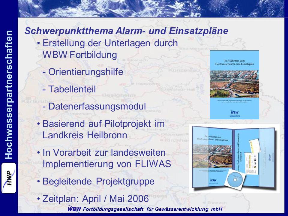 Fortbildungsgesellschaft für Gewässerentwicklung mbH Hochwasserpartnerschaften HWP Schwerpunktthema Alarm- und Einsatzpläne Erstellung der Unterlagen durch WBW Fortbildung - Orientierungshilfe - Tabellenteil - Datenerfassungsmodul Basierend auf Pilotprojekt im Landkreis Heilbronn In Vorarbeit zur landesweiten Implementierung von FLIWAS Begleitende Projektgruppe Zeitplan: April / Mai 2006