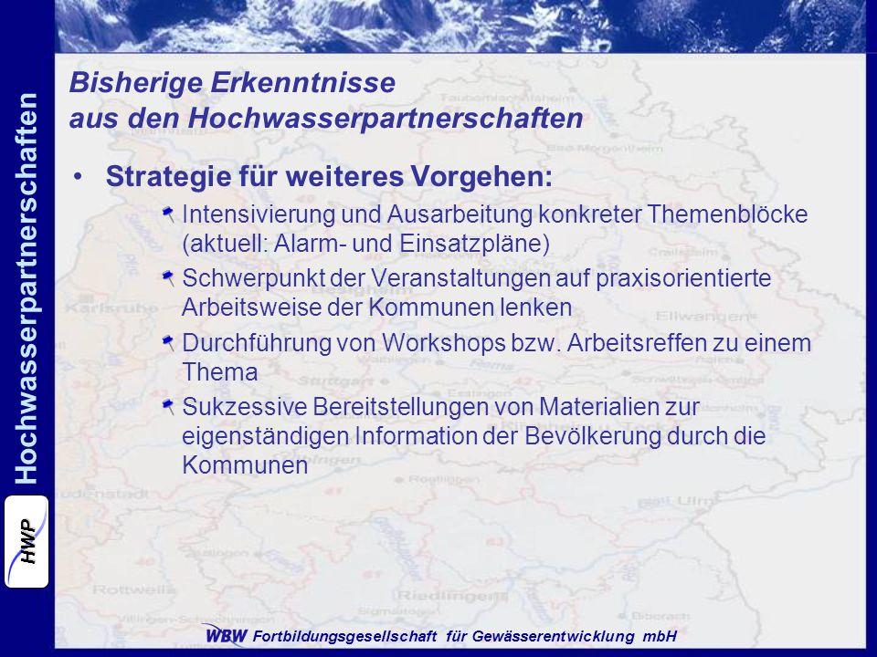 Fortbildungsgesellschaft für Gewässerentwicklung mbH Hochwasserpartnerschaften HWP Strategie für weiteres Vorgehen: Intensivierung und Ausarbeitung konkreter Themenblöcke (aktuell: Alarm- und Einsatzpläne) Schwerpunkt der Veranstaltungen auf praxisorientierte Arbeitsweise der Kommunen lenken Durchführung von Workshops bzw.