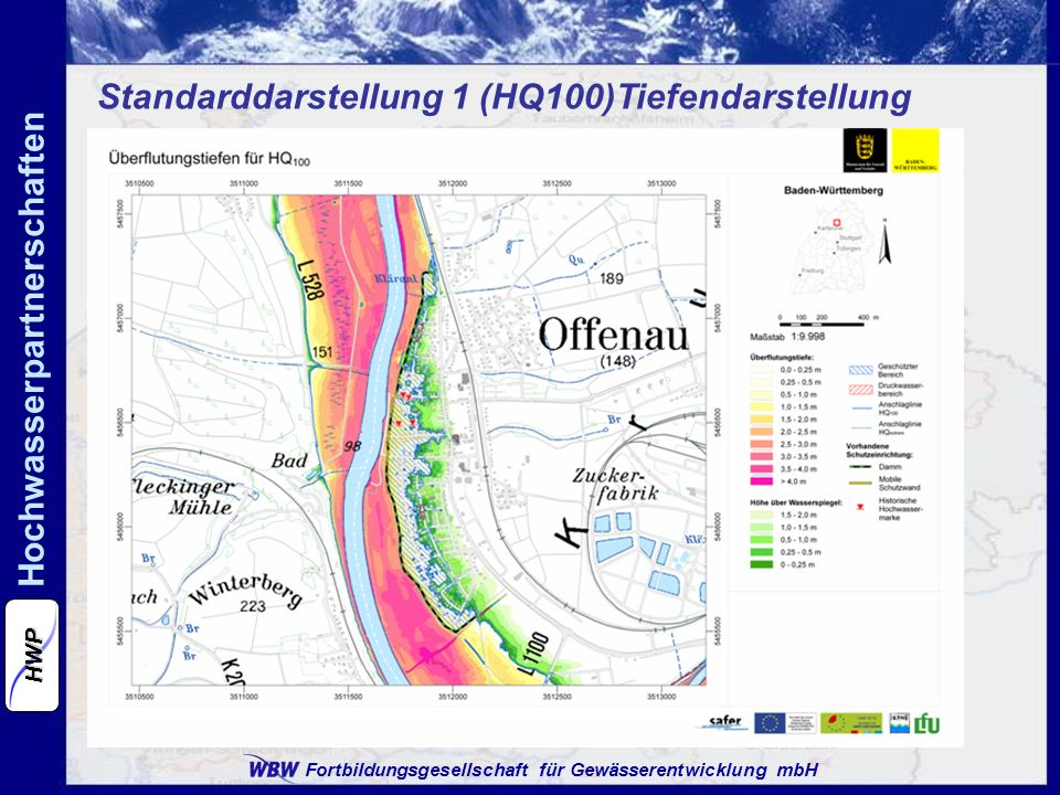 Fortbildungsgesellschaft für Gewässerentwicklung mbH Hochwasserpartnerschaften HWP Standarddarstellung 2 (HQ10, 50, 100, extrem) Flächenausbreitung