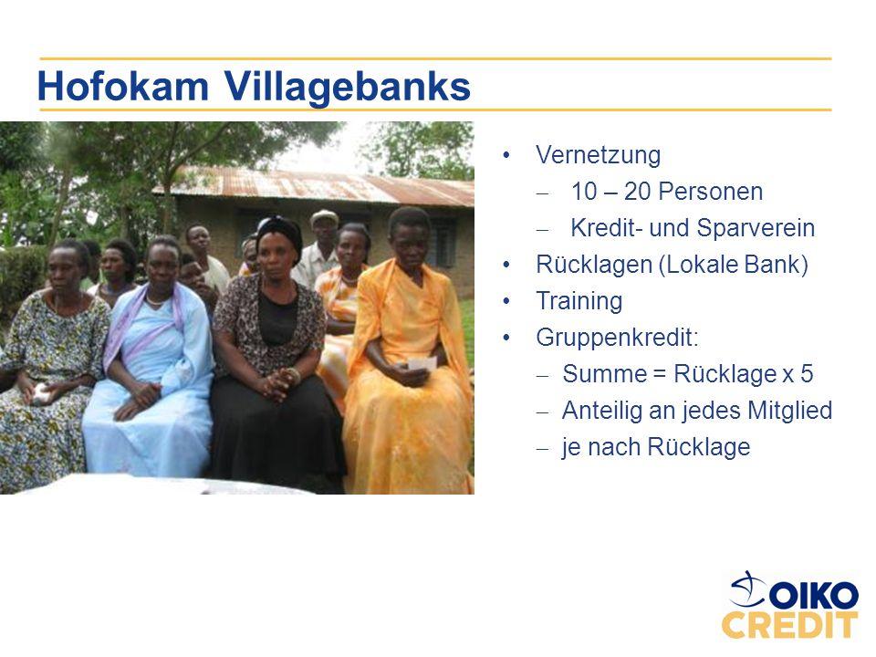 Hofokam Villagebanks Vernetzung 10 – 20 Personen Kredit- und Sparverein Rücklagen (Lokale Bank) Training Gruppenkredit: Summe = Rücklage x 5 Anteilig