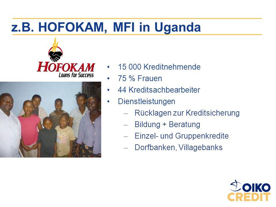 z.B. HOFOKAM, MFI in Uganda 15 000 Kreditnehmende 75 % Frauen 44 Kreditsachbearbeiter Dienstleistungen Rücklagen zur Kreditsicherung Bildung + Beratun