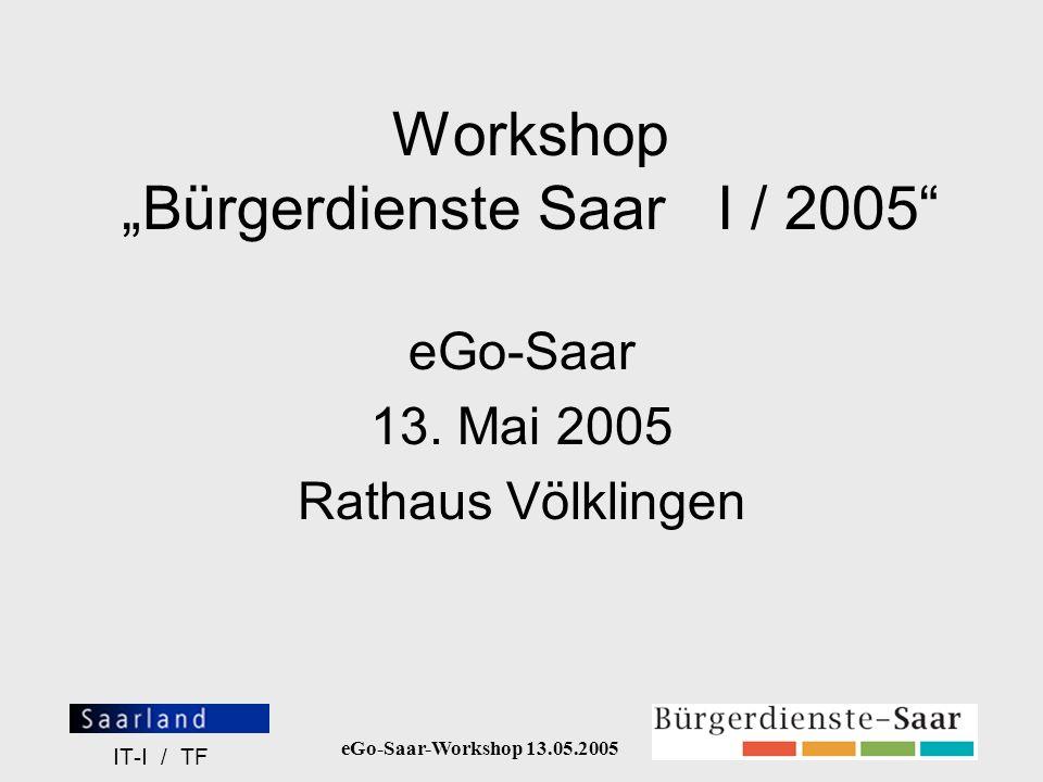 eGo-Saar-Workshop 13.05.2005 IT-I / TF Workflow in BDS Virtuelle Abbildung der behördeninternen Struktur (= Erstellung / Genehmigung / Freigabe / Publikation von Texten zu Lebenslagen / Behördenleistungen) Content-Redakteur Lektor Revisor Portal Interner Informationsfluß über automati- sierte E-Mail-Generierung