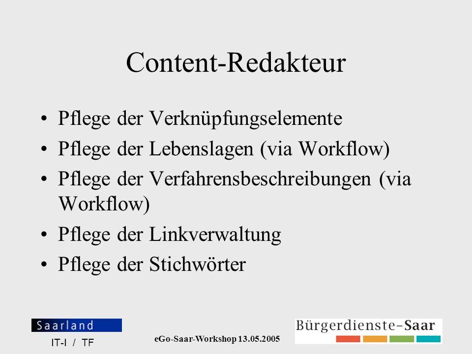 eGo-Saar-Workshop 13.05.2005 IT-I / TF Content-Redakteur Pflege der Verknüpfungselemente Pflege der Lebenslagen (via Workflow) Pflege der Verfahrensbe