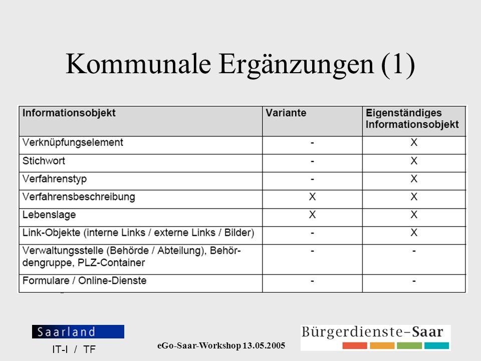 eGo-Saar-Workshop 13.05.2005 IT-I / TF Kommunale Ergänzungen (1)