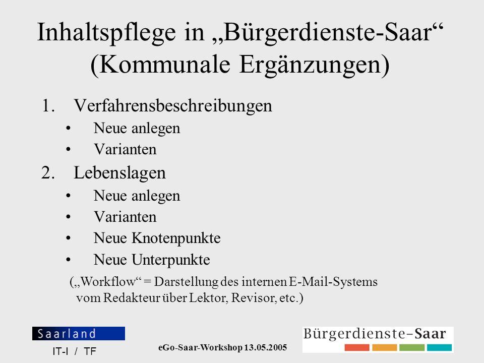 eGo-Saar-Workshop 13.05.2005 IT-I / TF Content-Bearbeiter-Gruppen- Administrator Pflege der Content-Redakteure Pflege der Lektoren Zuweisen von Informationsobjekt- Versionen im Workflow-Kreislauf an einen anderen Content-Redakteur Zuweisen von Informationsobjekt- Versionen im Workflow-Kreislauf an einen anderen Lektor