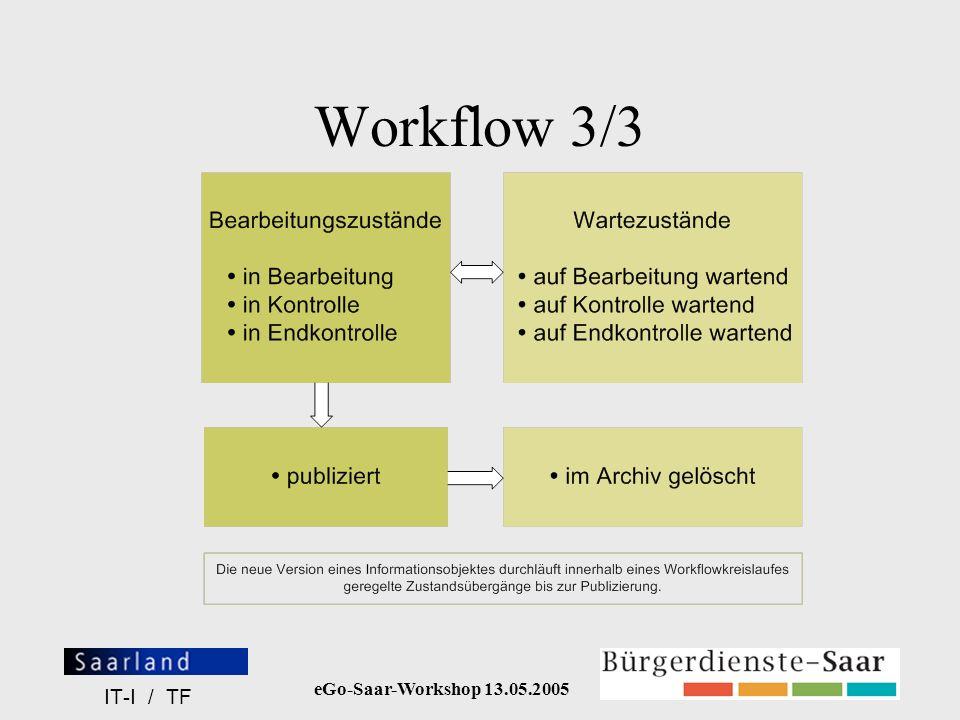 eGo-Saar-Workshop 13.05.2005 IT-I / TF Workflow 3/3