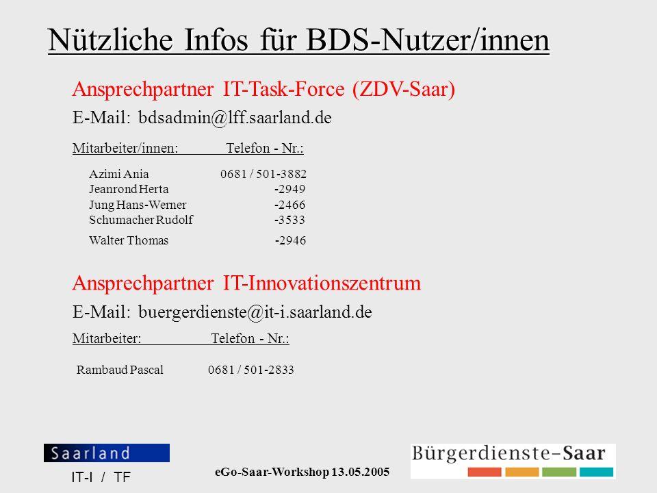 eGo-Saar-Workshop 13.05.2005 IT-I / TF Nützliche Infos für BDS-Nutzer/innen Azimi Ania0681 / 501-3882 Jeanrond Herta -2949 Jung Hans-Werner -2466 Schu