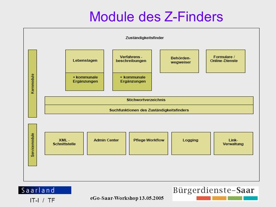 eGo-Saar-Workshop 13.05.2005 IT-I / TF Wichtige Internetadressen Startseite Bürgerdienste-Saar (BDS): http://www.buergerdienste-saar.de/SaarPortal/jsps/index.jspBDS-Admincenter: http://www.buergerdienste-saar.de/SAdminCenter/jsp/login/login.jsp (Benutzerkennung und Passwort werden von eGo-Saar zur Verfügung gestellt)Formulare-Online: http://www.kommunen-projekt.saarland.de Benutzername: kommunen Passwort: ******* (dieses Zugangspasswort ist bei eGo-Saar zu erfragen) (Hier finden Sie eine tabellarische Übersicht der Formulare, die bisher auf dem BDS-Server abgelegt wurden, verbunden mit Formular-Name, Verknüpfungselement und genauer URL – Infos, die Sie benötigen, um Formulare mit Ihrer Behörde zu verknüpfen!)