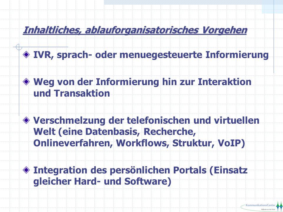 Inhaltliches, ablauforganisatorisches Vorgehen IVR, sprach- oder menuegesteuerte Informierung Weg von der Informierung hin zur Interaktion und Transaktion Verschmelzung der telefonischen und virtuellen Welt (eine Datenbasis, Recherche, Onlineverfahren, Workflows, Struktur, VoIP) Integration des persönlichen Portals (Einsatz gleicher Hard- und Software)