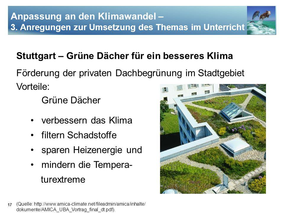 17 Stuttgart – Grüne Dächer für ein besseres Klima Förderung der privaten Dachbegrünung im Stadtgebiet Vorteile: Grüne Dächer verbessern das Klima fil