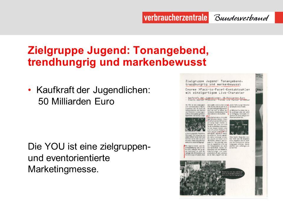Zielgruppe Jugend: Tonangebend, trendhungrig und markenbewusst Kaufkraft der Jugendlichen: 50 Milliarden Euro Die YOU ist eine zielgruppen- und eventorientierte Marketingmesse.