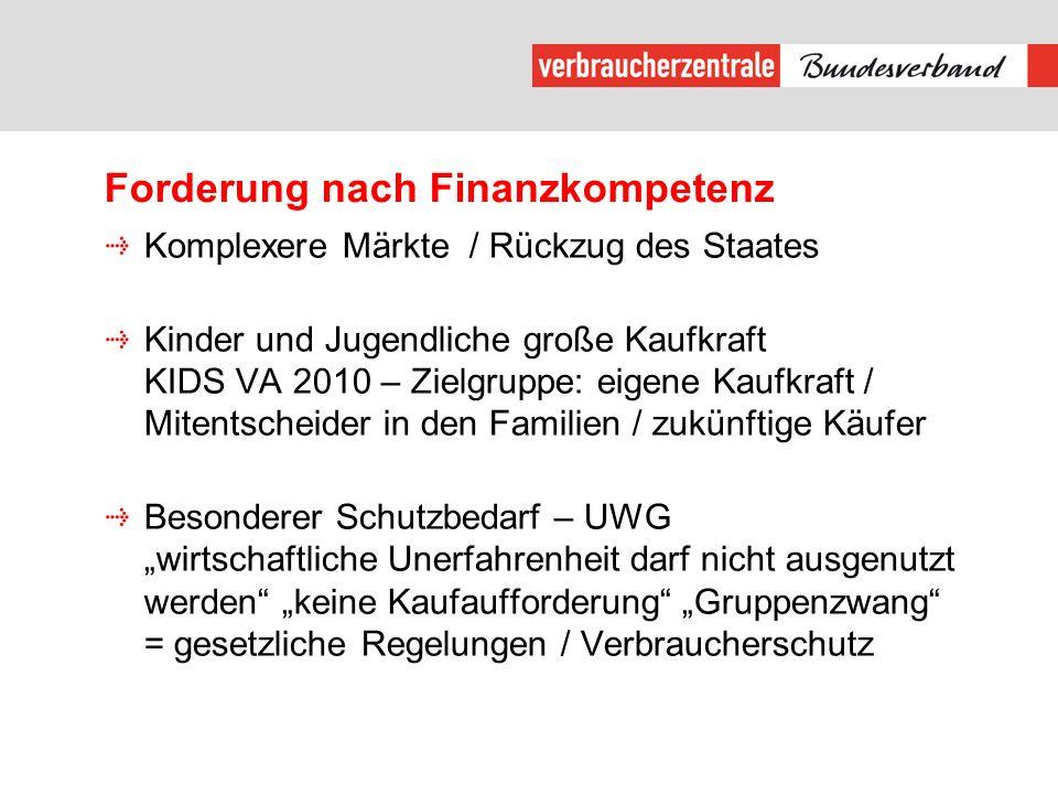Forderung nach Finanzkompetenz Komplexere Märkte / Rückzug des Staates Kinder und Jugendliche große Kaufkraft KIDS VA 2010 – Zielgruppe: eigene Kaufkr