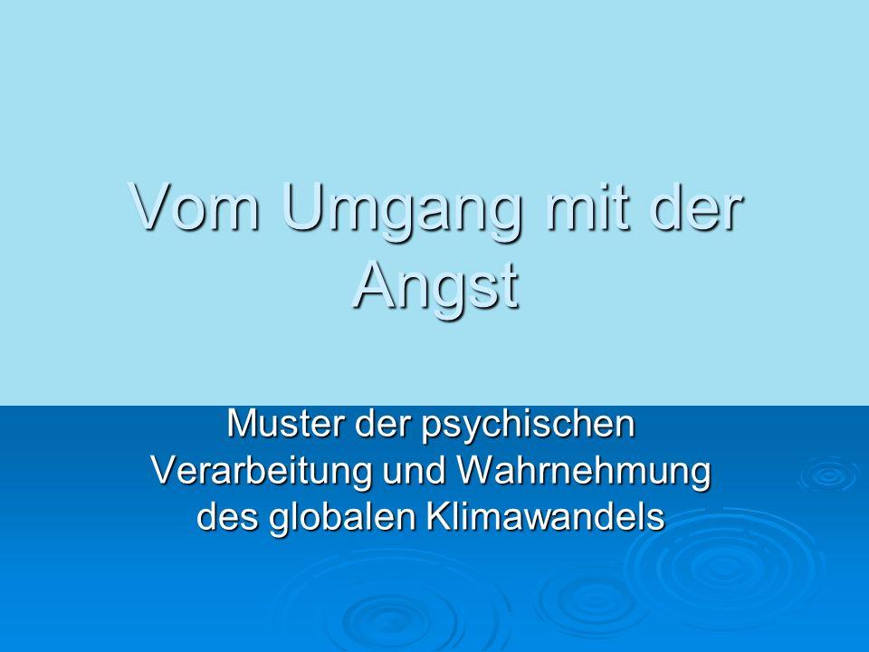 Vom Umgang mit der Angst Muster der psychischen Verarbeitung und Wahrnehmung des globalen Klimawandels