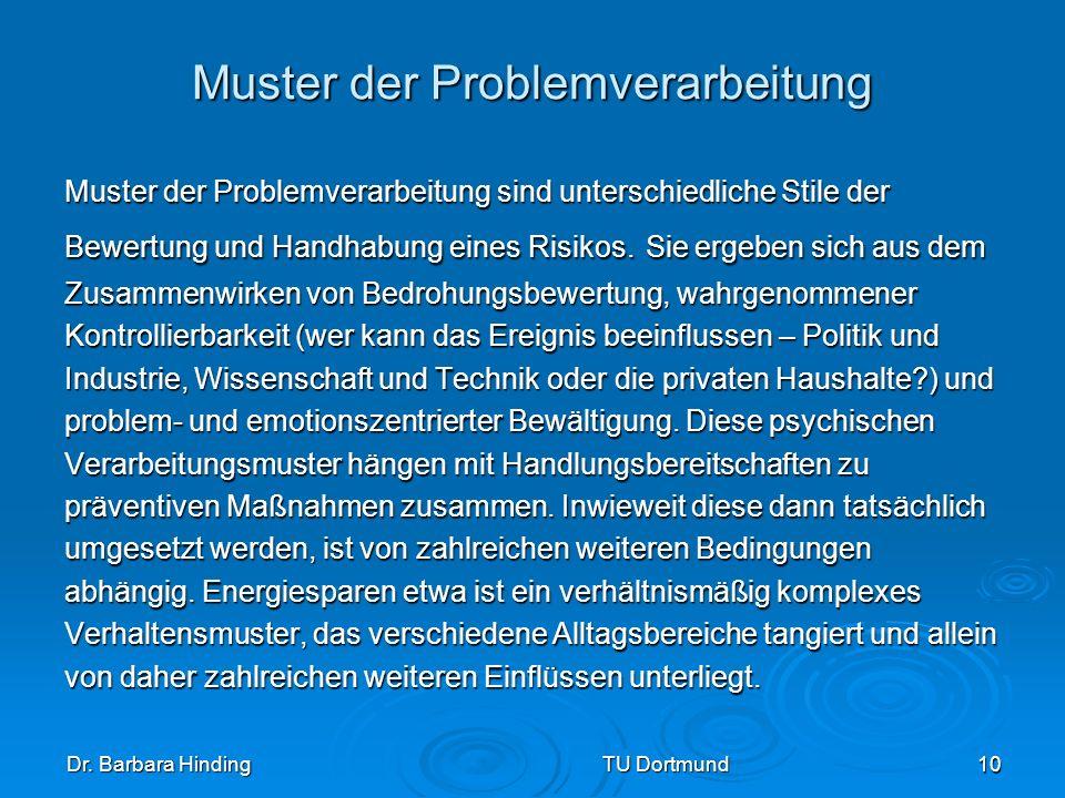 Dr. Barbara Hinding TU Dortmund 10 Muster der Problemverarbeitung Muster der Problemverarbeitung sind unterschiedliche Stile der Bewertung und Handhab