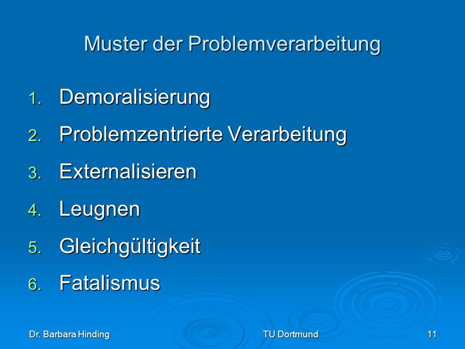 Dr. Barbara Hinding TU Dortmund 11 Muster der Problemverarbeitung 1. Demoralisierung 2. Problemzentrierte Verarbeitung 3. Externalisieren 4. Leugnen 5