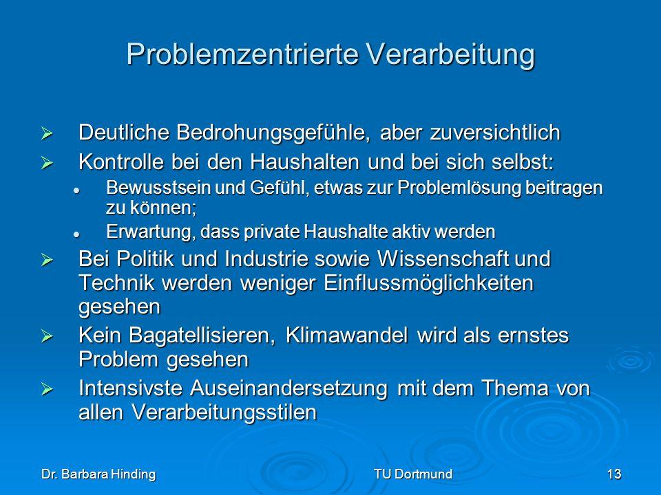 Dr. Barbara Hinding TU Dortmund 13 Problemzentrierte Verarbeitung Deutliche Bedrohungsgefühle, aber zuversichtlich Deutliche Bedrohungsgefühle, aber z