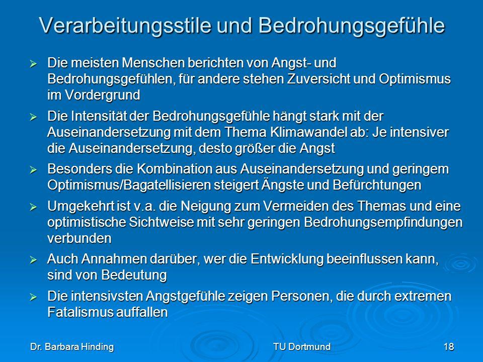 Dr. Barbara Hinding TU Dortmund 18 Verarbeitungsstile und Bedrohungsgefühle Die meisten Menschen berichten von Angst- und Bedrohungsgefühlen, für ande