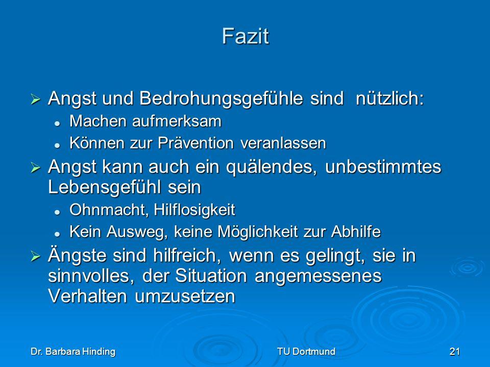 Dr. Barbara Hinding TU Dortmund 21 Fazit Angst und Bedrohungsgefühle sind nützlich: Angst und Bedrohungsgefühle sind nützlich: Machen aufmerksam Mache
