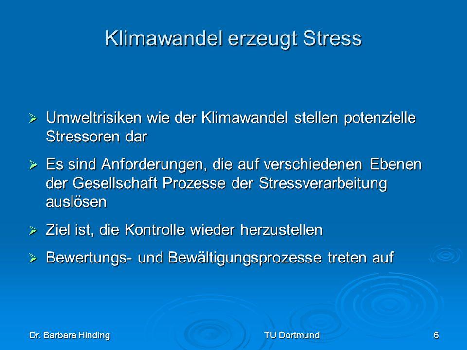 Dr. Barbara Hinding TU Dortmund 6 Klimawandel erzeugt Stress Umweltrisiken wie der Klimawandel stellen potenzielle Stressoren dar Umweltrisiken wie de