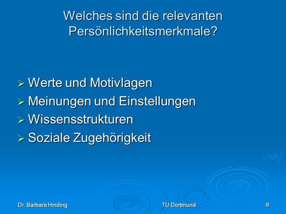 Dr. Barbara Hinding TU Dortmund 9 Welches sind die relevanten Persönlichkeitsmerkmale? Werte und Motivlagen Werte und Motivlagen Meinungen und Einstel