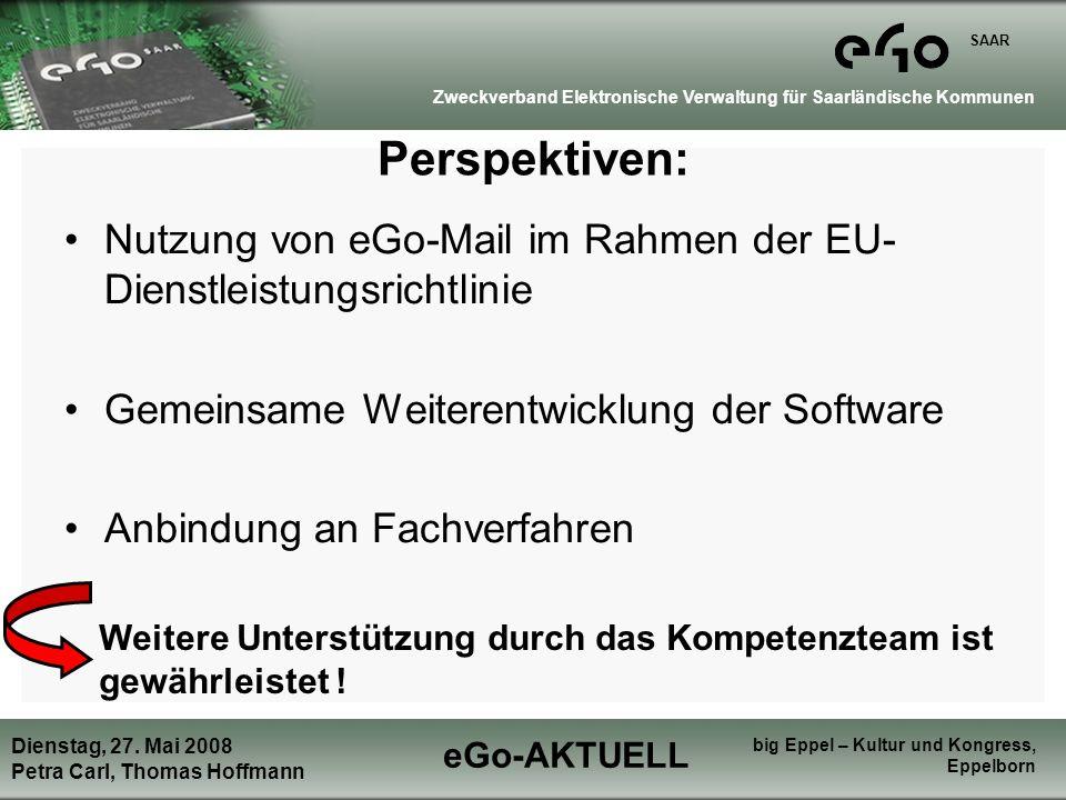 eGo-AKTUELL Zweckverband Elektronische Verwaltung für Saarländische Kommunen SAAR Dienstag, 27.