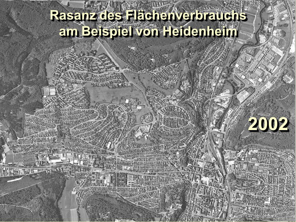 1953195320022002 Rasanz des Flächenverbrauchs am Beispiel von Heidenheim