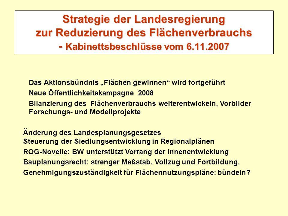 Strategie der Landesregierung zur Reduzierung des Flächenverbrauchs - Kabinettsbeschlüsse vom 6.11.2007 Das Aktionsbündnis Flächen gewinnen wird fortg